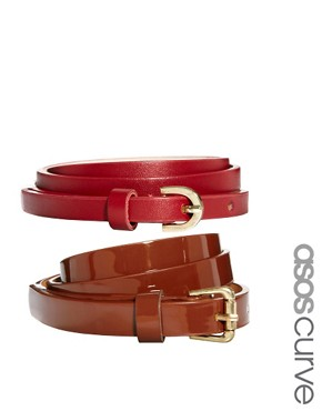 Image 1 ofASOS CURVE 2 Pack Skinny Waist Belts