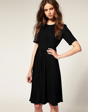 Image 1 ofASOS Short Sleeve High Neck Pleated Midi Dress