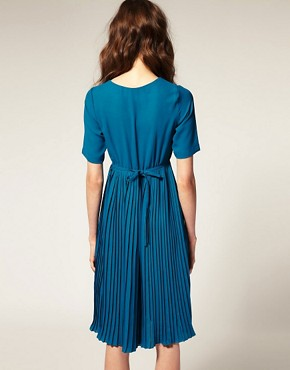 Image 2 ofASOS Short Sleeve High Neck Pleated Midi Dress