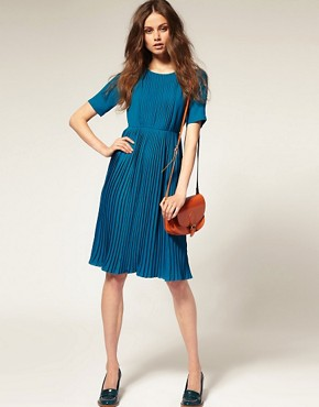 Image 4 ofASOS Short Sleeve High Neck Pleated Midi Dress