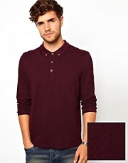 ASOS Polo With Long Sleeves All Over Polka Dot
