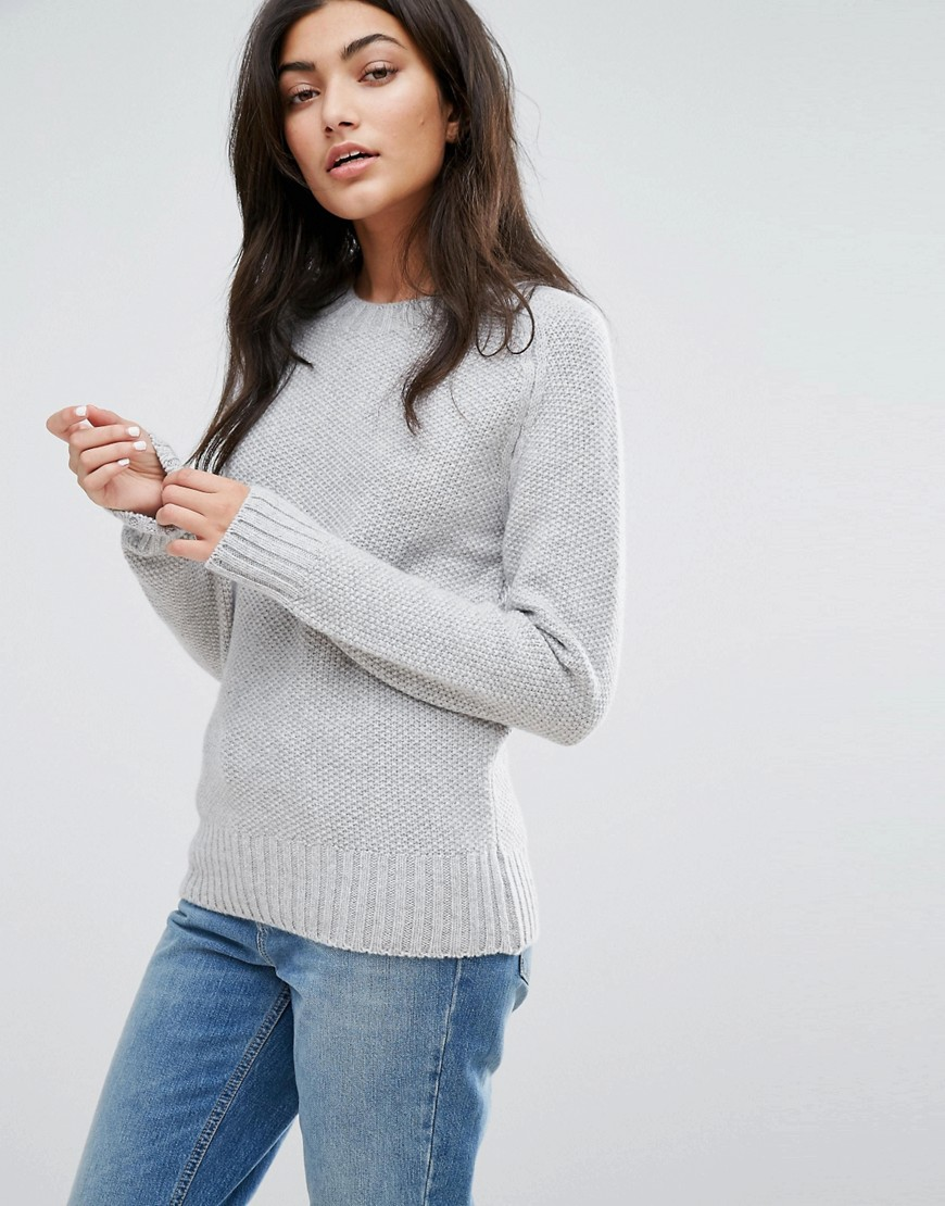 YMC Moss Merino Wool Cashmere Mix Knit Jumper - Marl grey