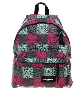 Image 1 ofEastpak Blossom Check Print Authentic Backpack