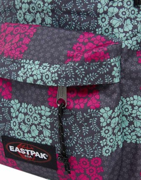 Image 2 ofEastpak Blossom Check Print Authentic Backpack