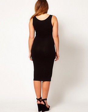 Image 2 ofASOS CURVE Exclusive Bodycon Vest Dress In Midi Length