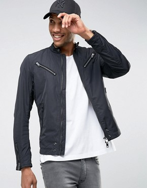 Diesel Jacket J-Edge-A Lightweight Nylon Biker In Black