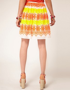 Image 2 ofASOS Dirndle Skirt in Fluro Lace Print