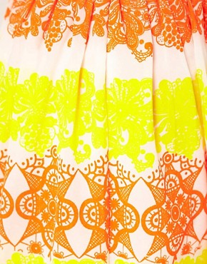Image 3 ofASOS Dirndle Skirt in Fluro Lace Print