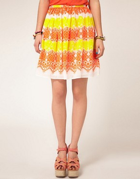 Image 4 ofASOS Dirndle Skirt in Fluro Lace Print
