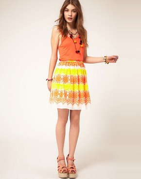 Image 1 ofASOS Dirndle Skirt in Fluro Lace Print