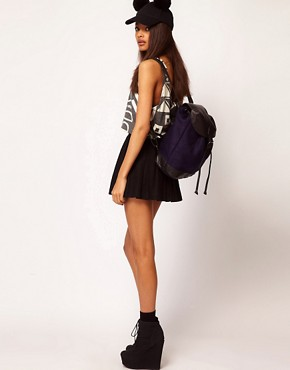 Image 3 ofASOS Felt Backpack With Leather Trim