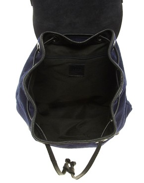 Image 4 ofASOS Felt Backpack With Leather Trim