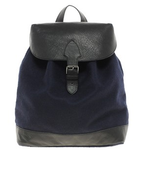 Image 1 ofASOS Felt Backpack With Leather Trim