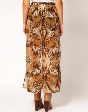 Image 2 ofRiver Island Animal Drape Maxi Skirt