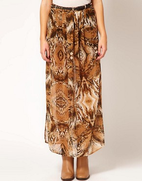 Image 4 ofRiver Island Animal Drape Maxi Skirt