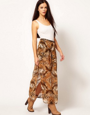 Image 1 ofRiver Island Animal Drape Maxi Skirt
