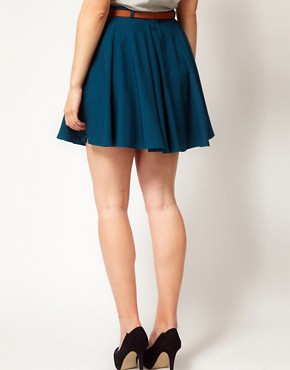 Image 2 ofASOS CURVE Exclusive Skater Skirt With Belt