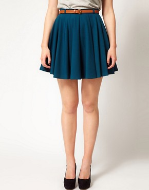 Image 4 ofASOS CURVE Exclusive Skater Skirt With Belt