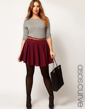 Image 1 ofASOS CURVE Exclusive Skater Skirt With Belt