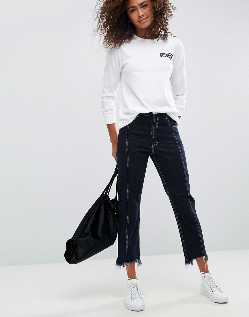 ASOS AUTHENTIC Straight Leg Jeans With Vertical Seam In Indigo With a Contrast Stitch - Indigo