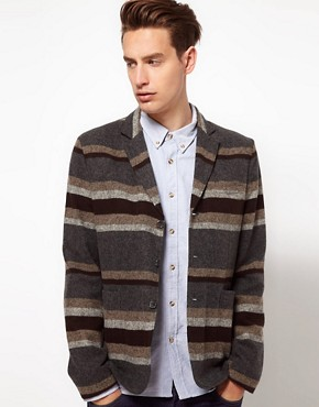 Image 1 ofASOS Slim Fit Stripe Blazer in Italian Fabric