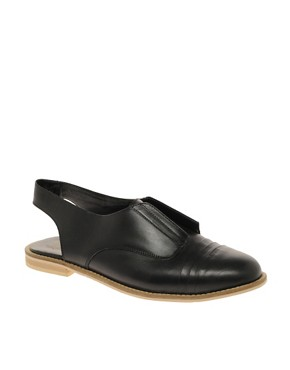 Image 1 ofASOS MADAME Leather Pleated Slingback Shoe