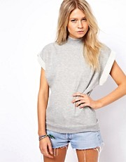 ASOS Sweatshirt with High Neck and Short Sleeves