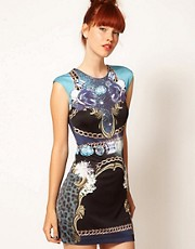Emma Cook Jade Dress in Blue Jewels Print