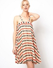 Ivana Helsinki Pleated Printed Silk Dress