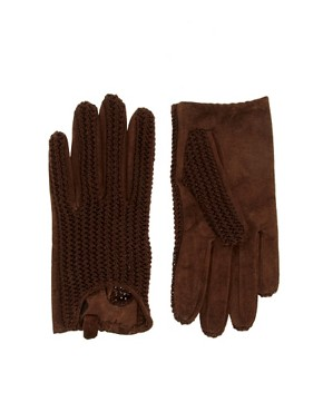 Image 1 ofASOS Suede and Knit Short Glove