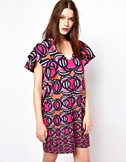 Mademoiselle Tara Swirl Print Dress with Fluted Sleeves