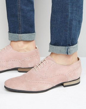 ASOS Brogue Shoes in Pink Suede With Contrast Sole