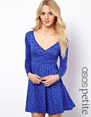 ASOS PETITE Exclusive Dress With Ballet Wrap In Bird Print