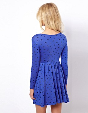 Image 2 ofASOS PETITE Exclusive Dress With Ballet Wrap In Bird Print