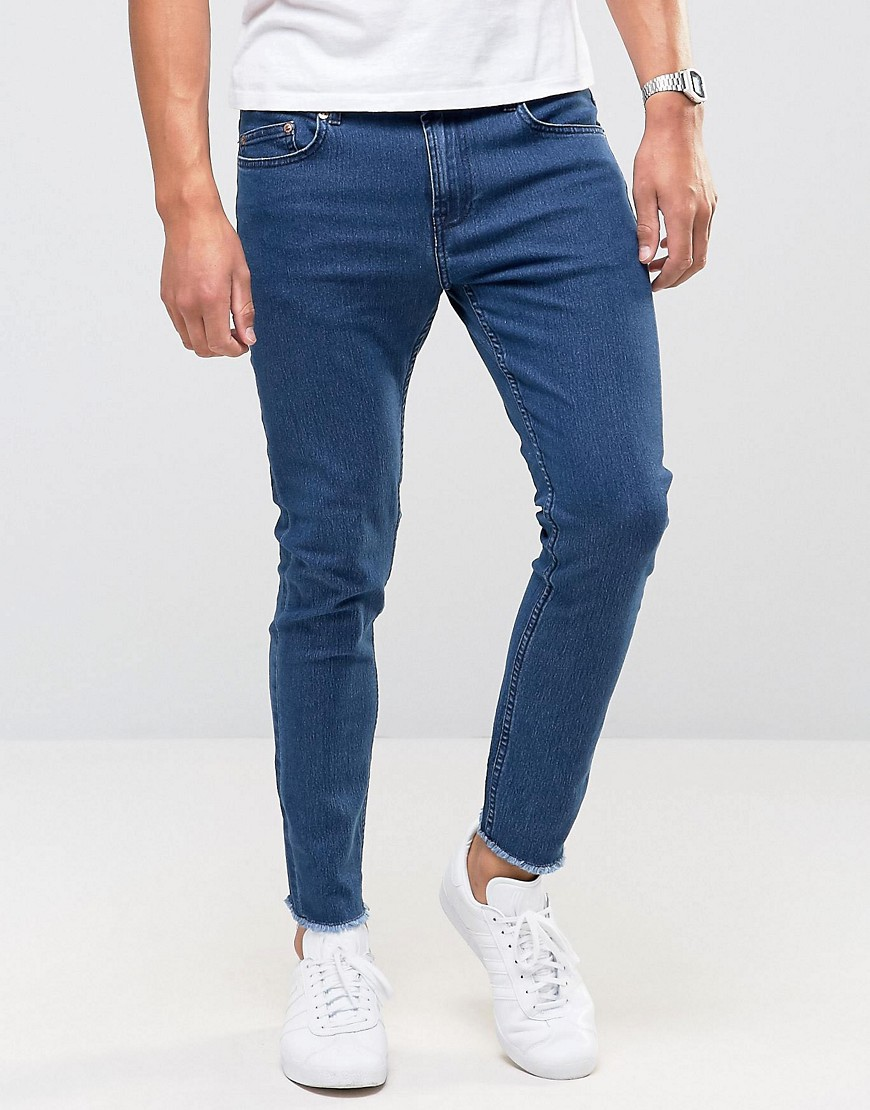 Only & Sons Skinny Jeans with Raw Edge - Medium wash blue
