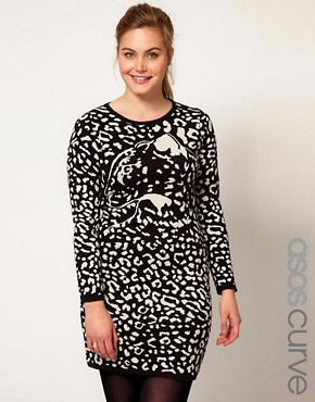 Image 1 ofASOS CURVE Knitted Dress With Leopard Face