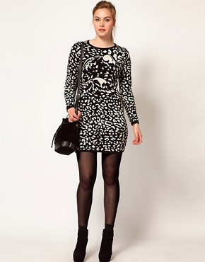 Image 4 ofASOS CURVE Knitted Dress With Leopard Face