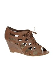 New Look Sand Lace up Wedge Sandals