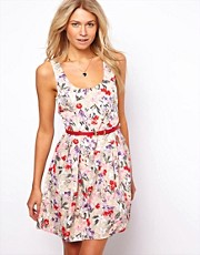 Oasis Bird Print Skater Dress