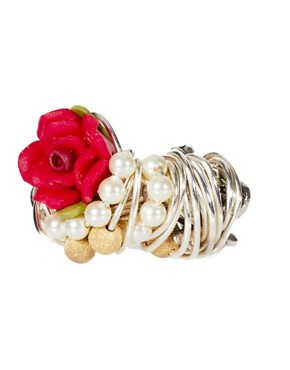 Image 2 ofKat&amp;Bee Chandra Sterling Silver Skull &amp; Flower Ring