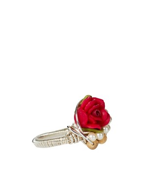 Image 4 ofKat&amp;Bee Chandra Sterling Silver Skull &amp; Flower Ring