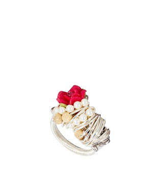 Image 1 ofKat&amp;Bee Chandra Sterling Silver Skull &amp; Flower Ring