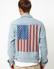 American Apparel Denim Jacket with Flag Print