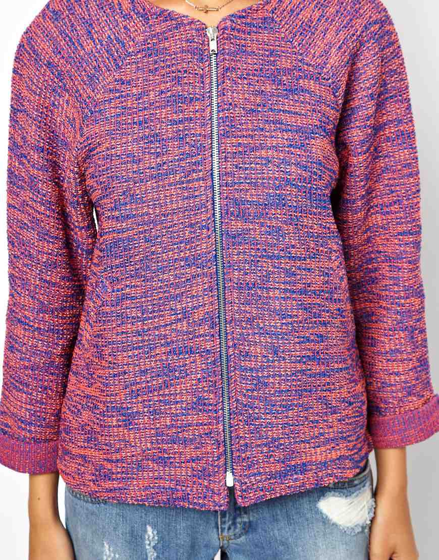Image 3 of ASOS Jacket in Texture with Zip Front
