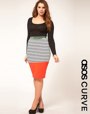 Image 1 ofASOS CURVE Pencil Skirt In Colourblock Stripe