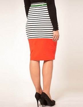 Image 2 ofASOS CURVE Pencil Skirt In Colourblock Stripe