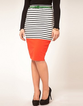 Image 4 ofASOS CURVE Pencil Skirt In Colourblock Stripe