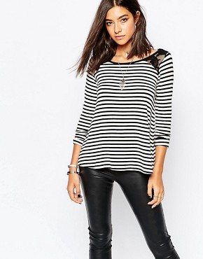 Sisley Stripe Top With Lace Shoulder