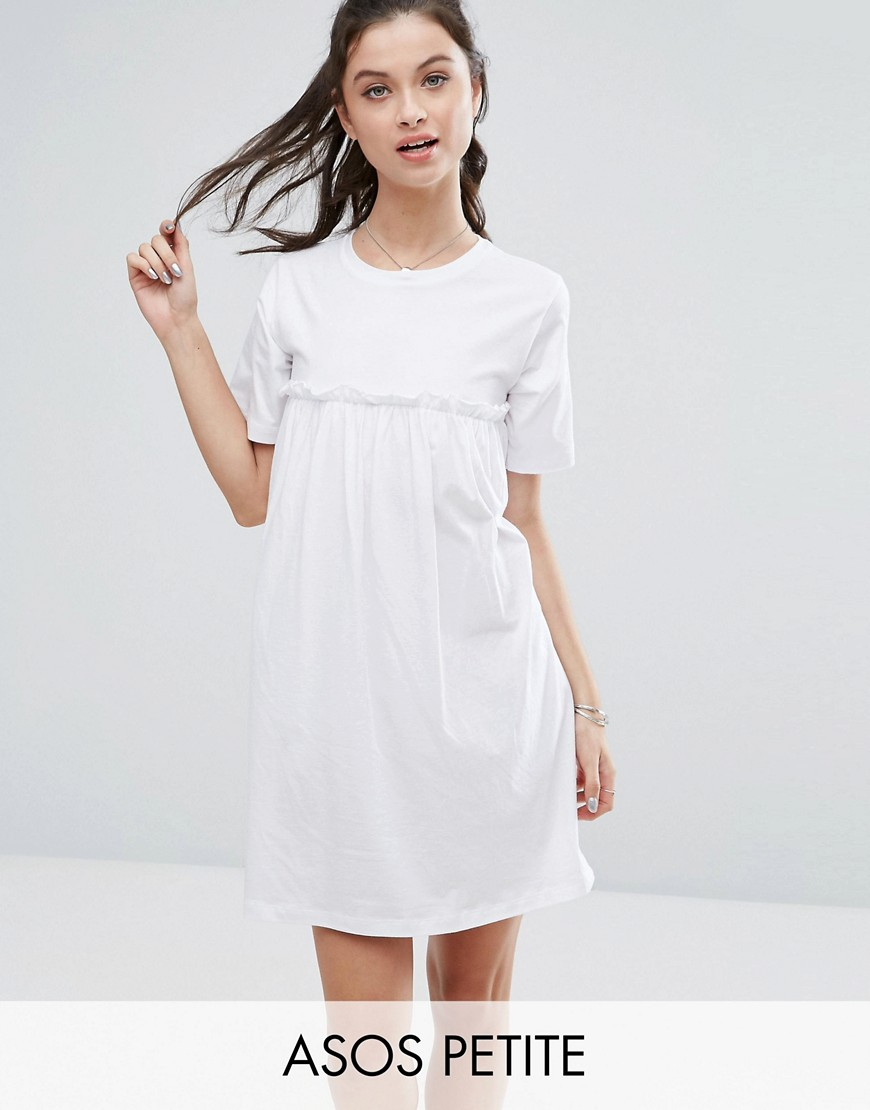 ASOS PETITE Smock Dress with Ruffles - White