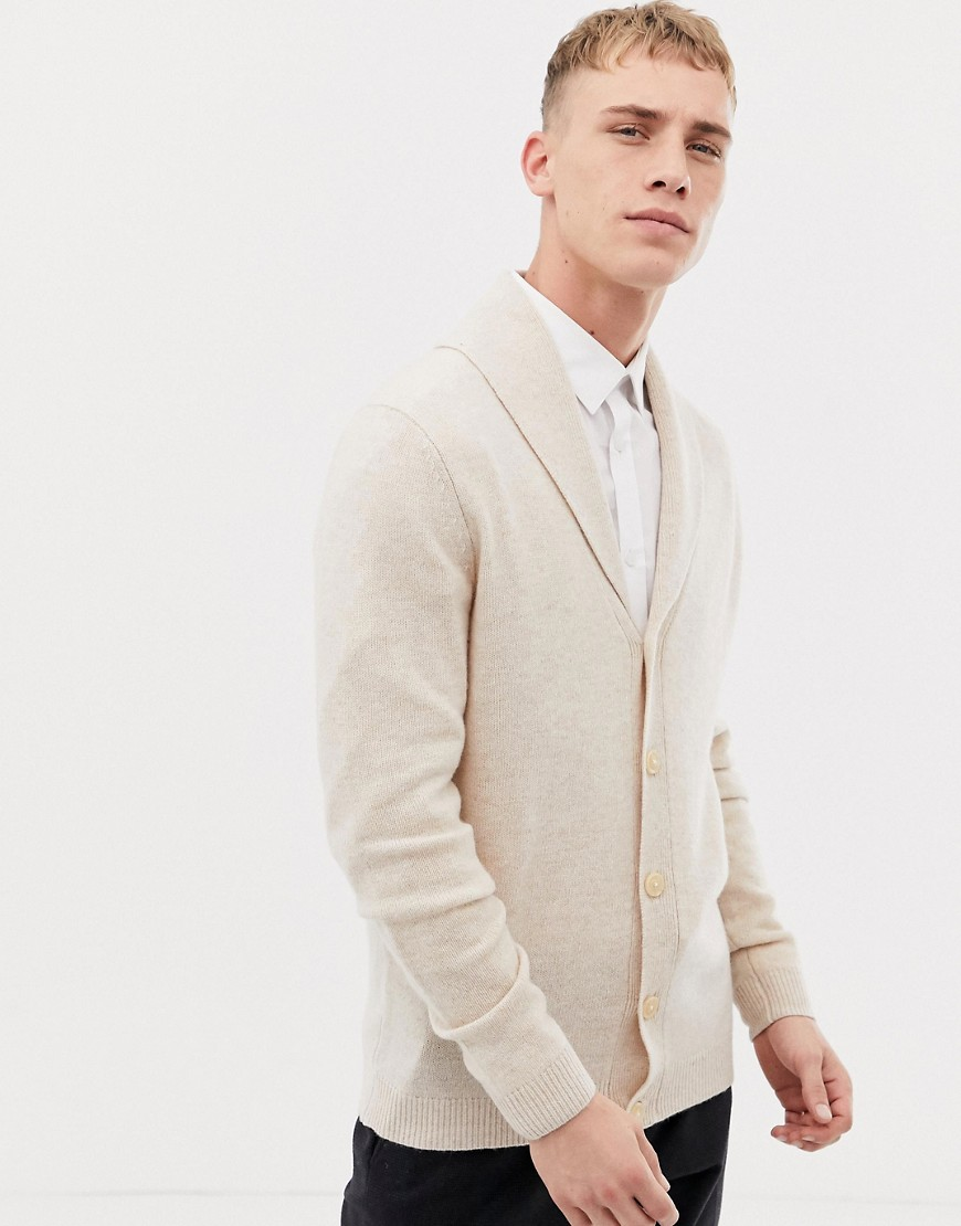 ASOS DESIGN - Strickjacke aus Lammwolle in hellem Beige mit Schalkragen - Beige | Bekleidung > Strickjacken & Cardigans > Strickjacken | Beige | ASOS DESIGN